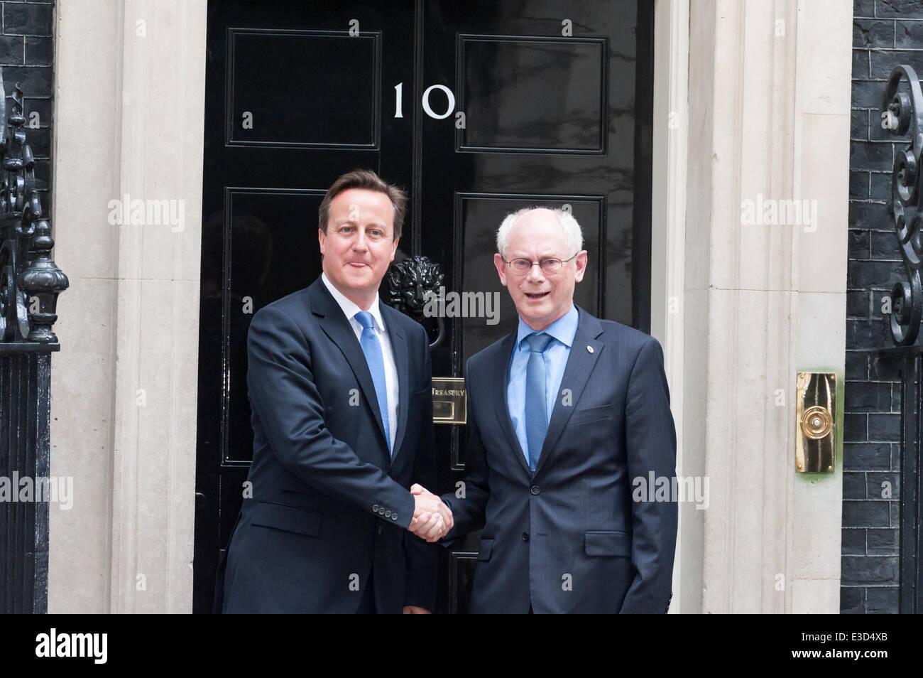 Downing Street, London, UK. 23rd June 2014. Herman Van Rompuy, the president of the European Council, meets David Stock Photo