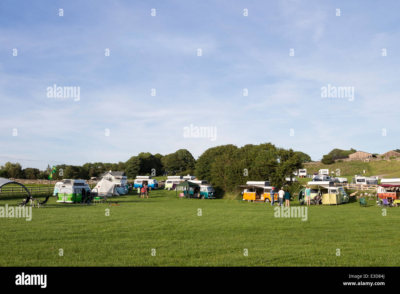 Pop Top Brazilian VW Camper Vans at Gibralter Farm Campsite Silverdale Lancashire England UK - Stock Image