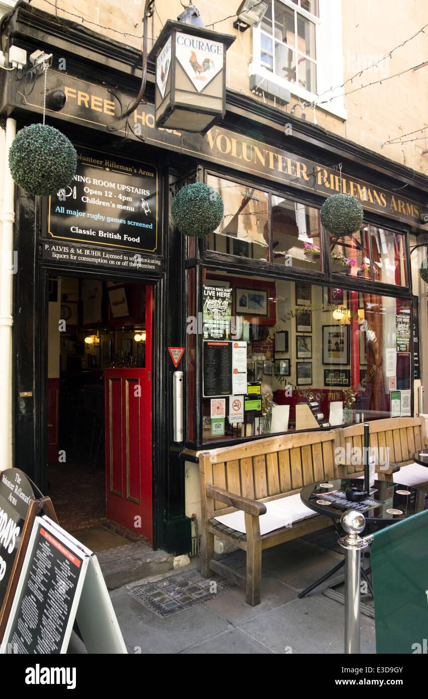 The historic city of Bath in Somerset england UK  The Volunteer Rifleman Pub Stock Photo