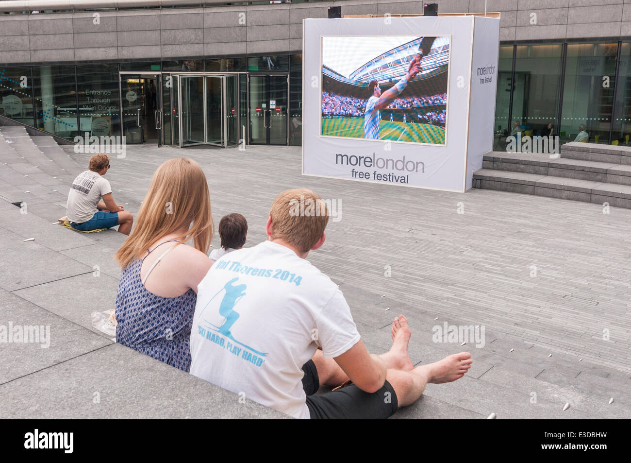 The Scoop, More London, London, UK, 23 June 2014 - on the opening day of Wimbledon 2014, fans gather to watch live - Stock Image