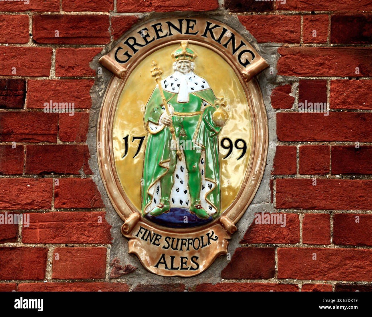 Greene King Brewery plaque, English breweries, Bury St. Edmunds, plaques, Suffolk, England UK - Stock Image