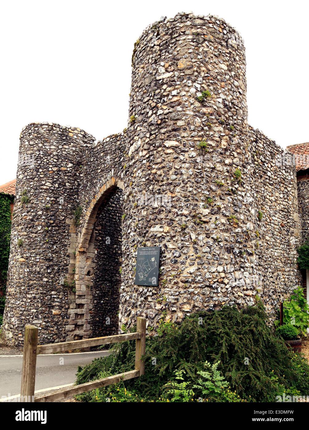 Bailey Gate, Castle Acre, Norfolk, North Norman gate, c. 1200 England UK gates medieval town defence defences - Stock Image