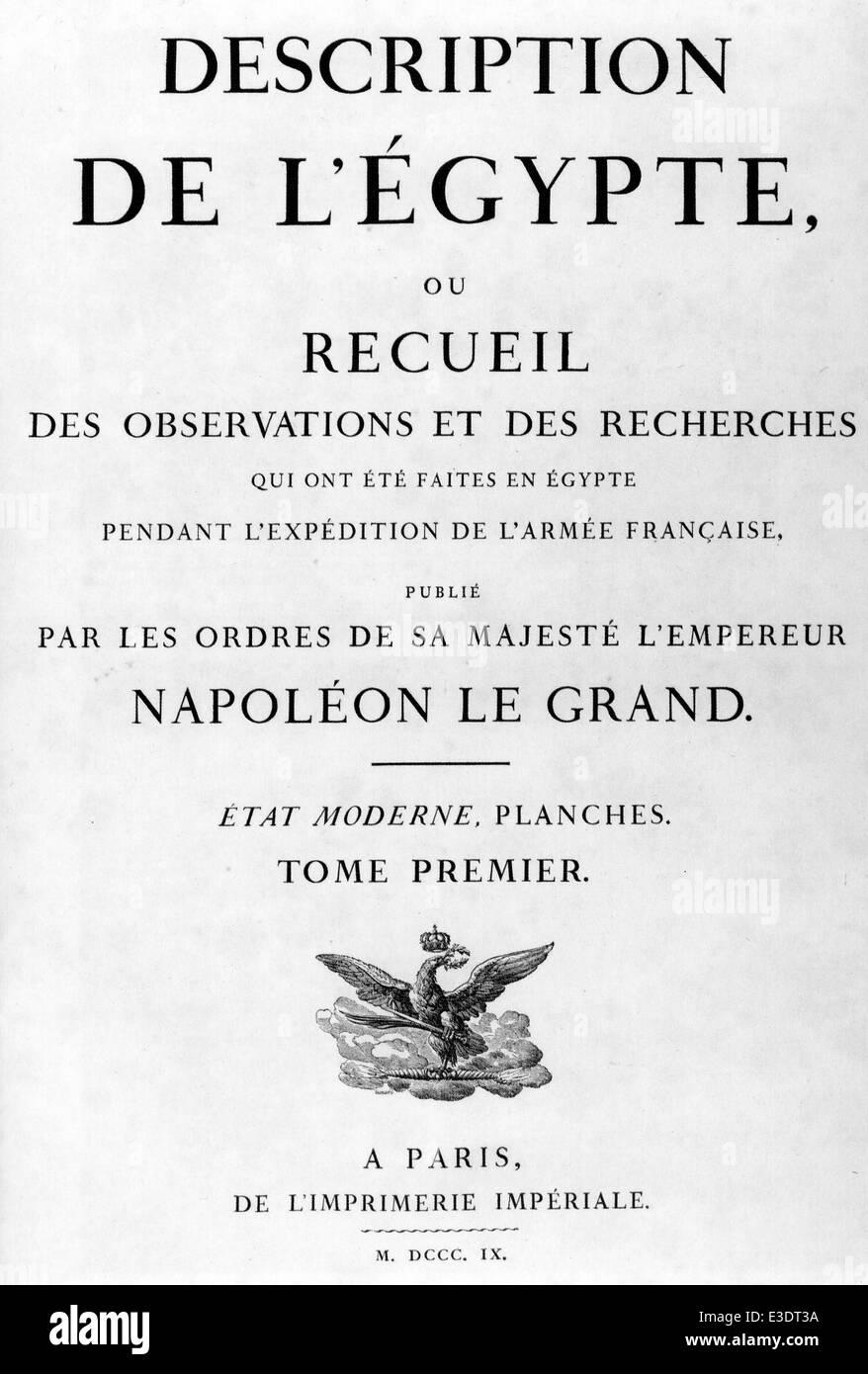 DESCRIPTION DE L'EGYPTE by Edme Jomard published in Paris in 1809 - Stock Image