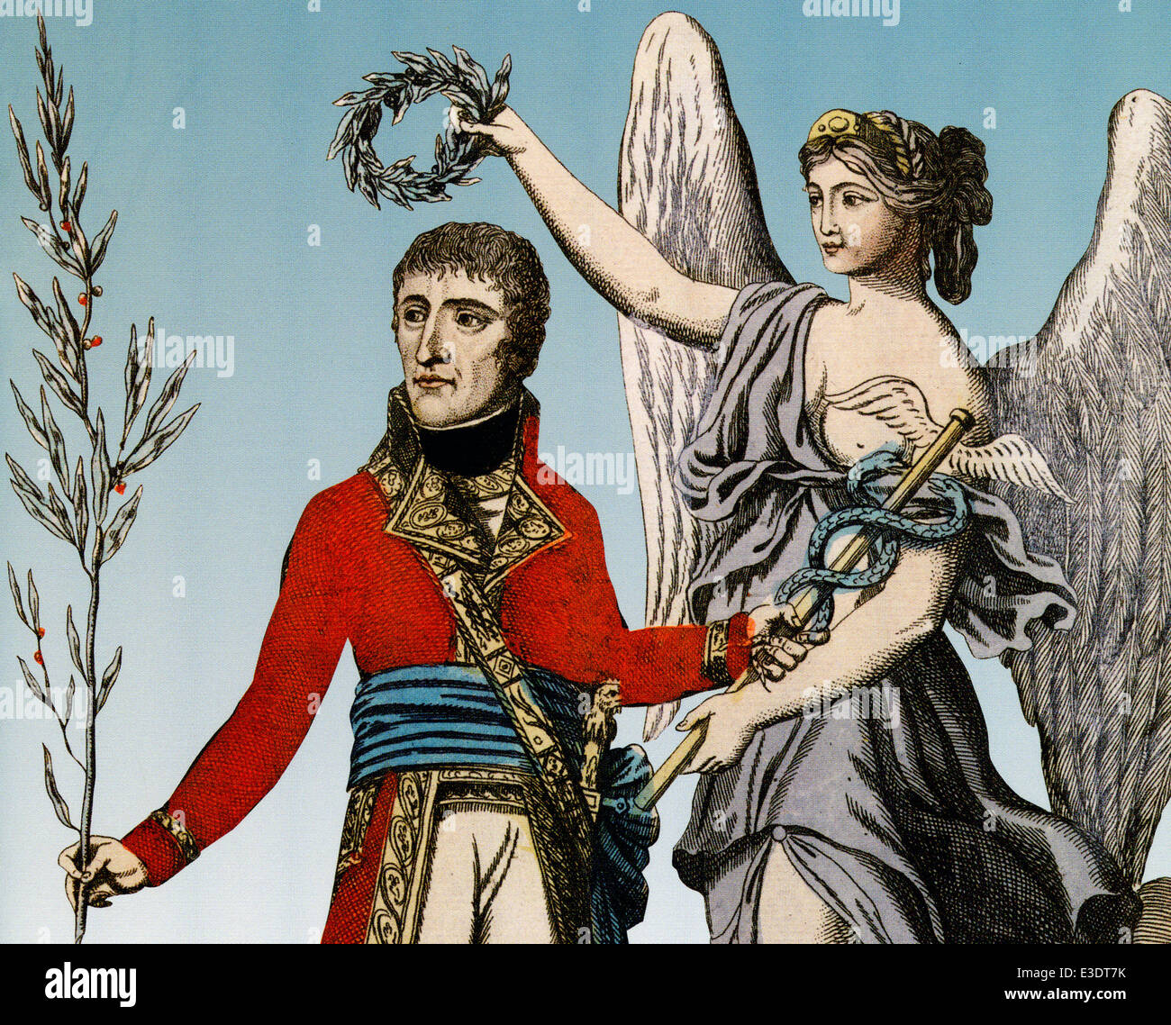 NAPOLEON BONAPARTE (1769-1821) shown bringing peace as First Consul in a hand-coloured illustration in 1802 - Stock Image