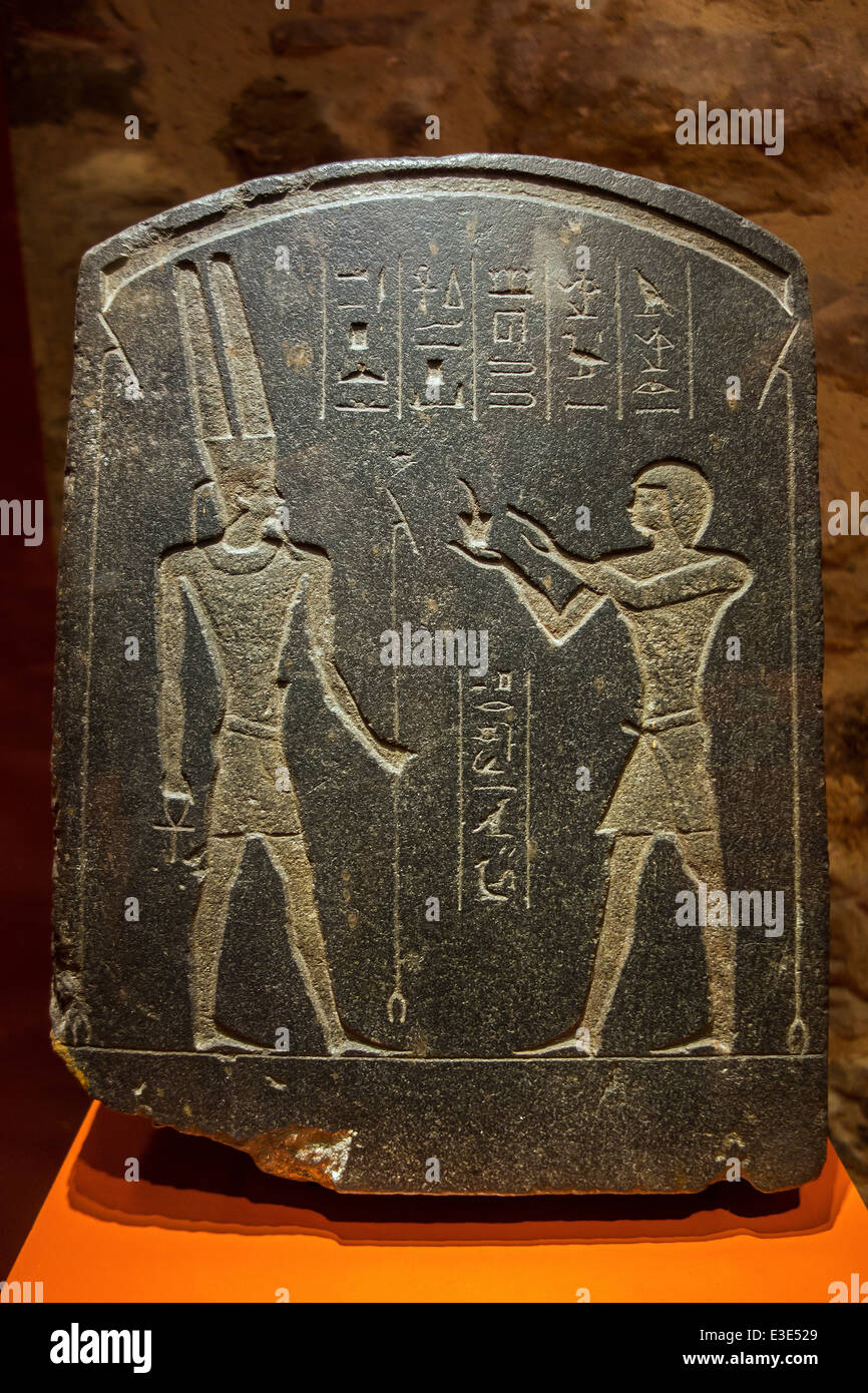 The Padichahededet stele showing Egyptian hieroglyphs and the god Amon dating to the 26th Dynasty - Stock Image