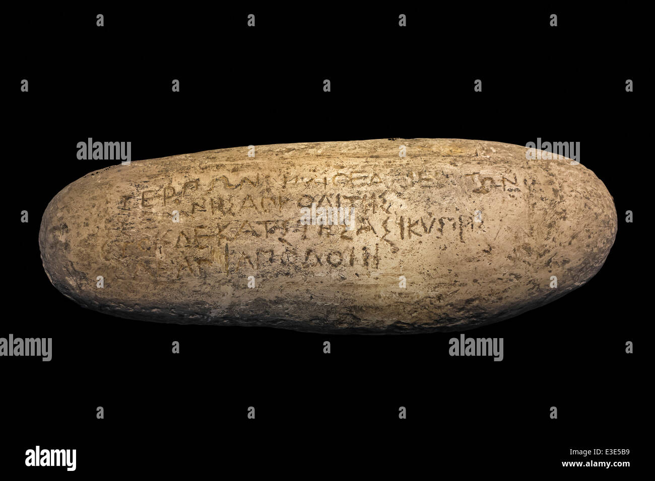 The Stone of Terpon / Pebble of Antibes / Galet d'Antibes with carved inscription in Ionic Greek, dated to between - Stock Image