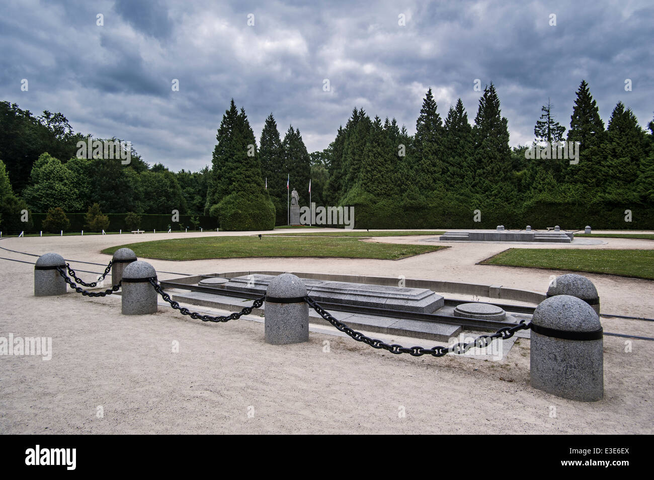 Rethondes clearing / Glade of the Armistice / Clairière de l'Armistice, WWI memorial and statue of Foch, - Stock Image