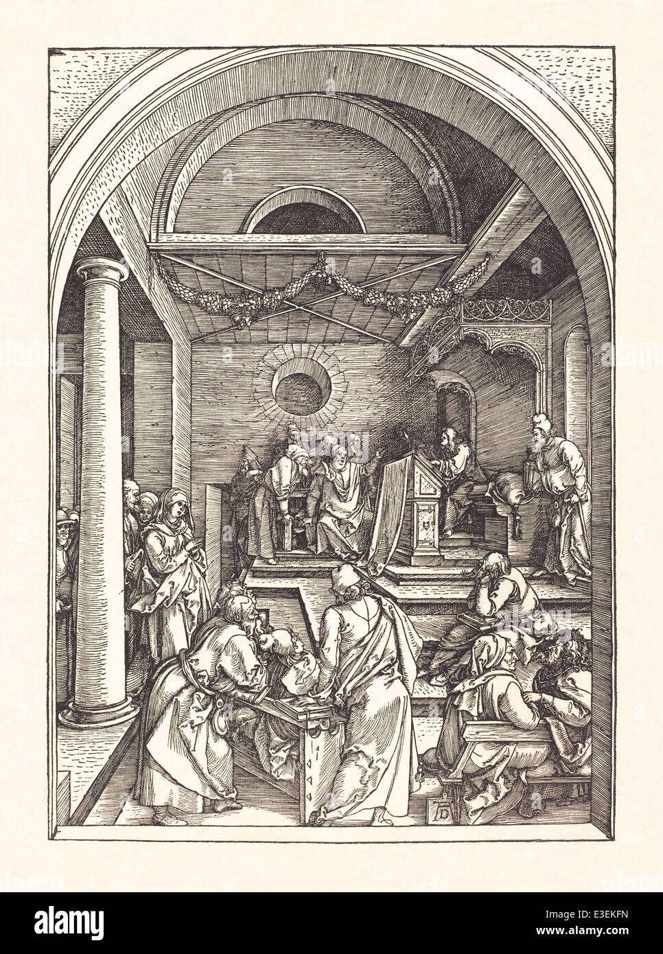 Albrecht Dürer (1471-1528) woodcut  depicting 'Christ among the Doctors in the Temple' published in 1503. - Stock Image