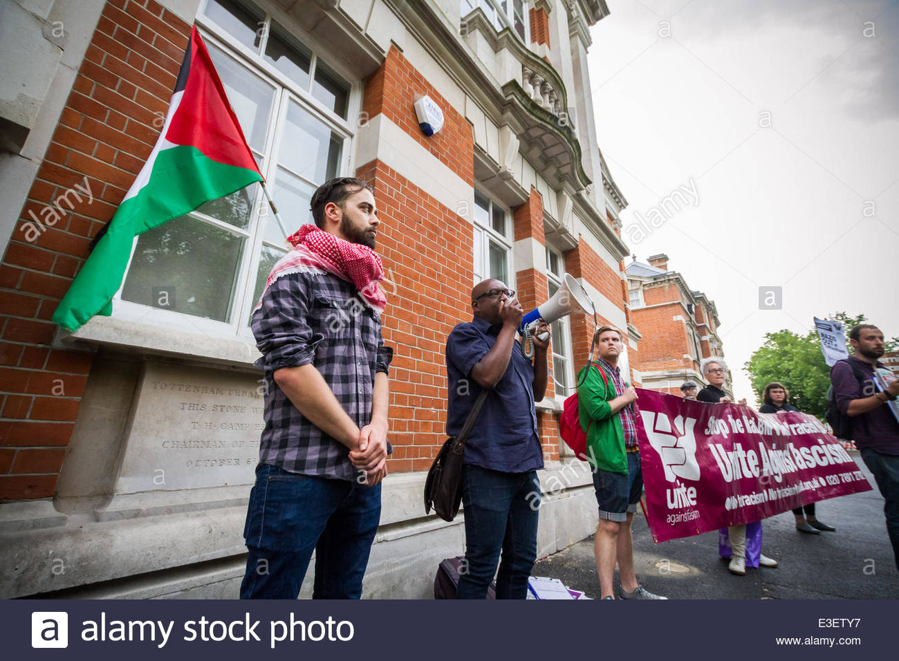 London, UK. 23rd June, 2014. Unite Against Fascism protest vigil against 'Polish Neo-Nazi' attacks in Tottenham, Stock Photo