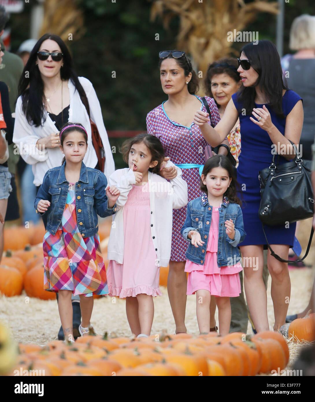 Salma Hayek takes her daughter Valentina Pinault to Mr Bones