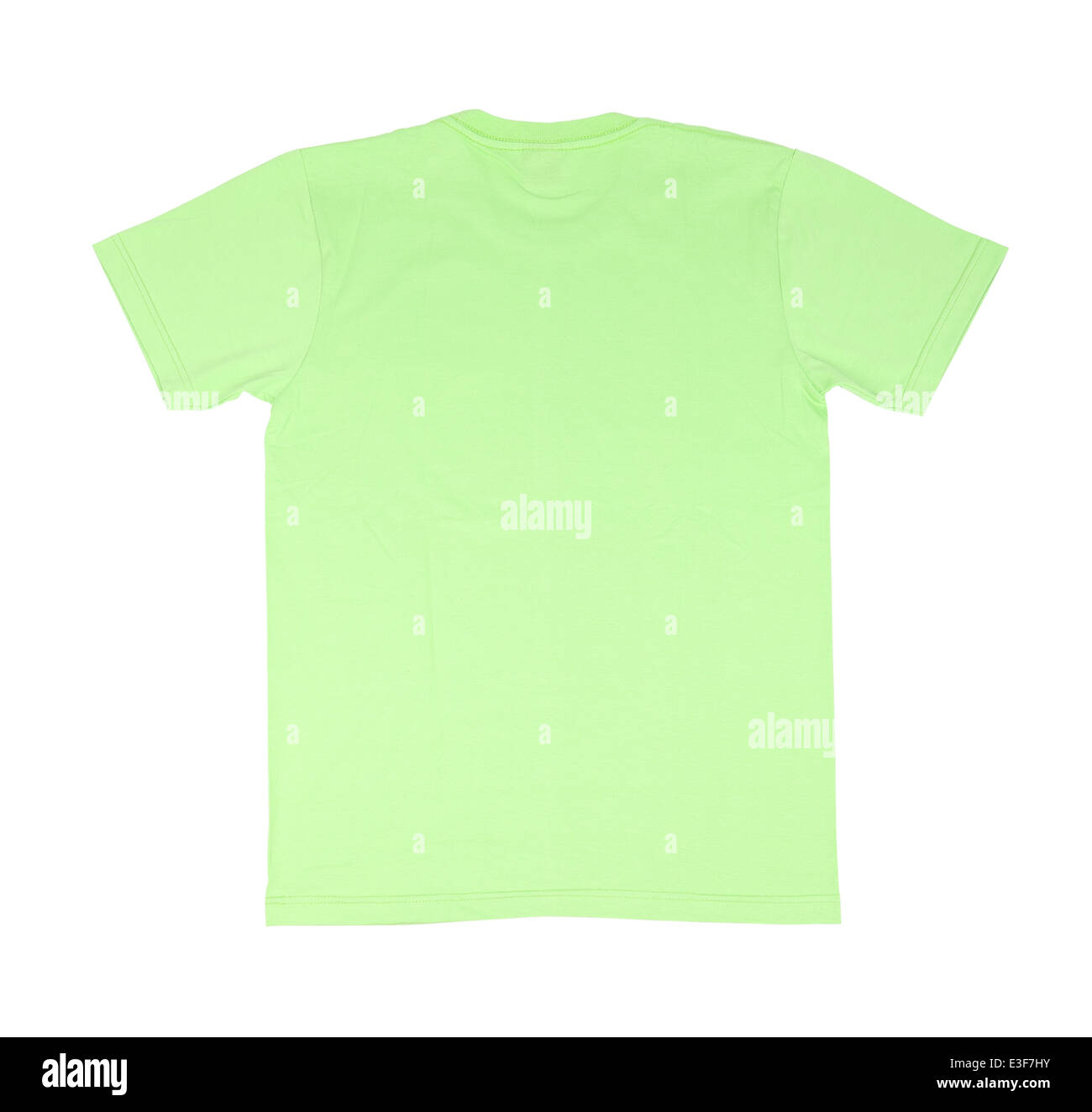 green t shirt template back side on white background stock photo