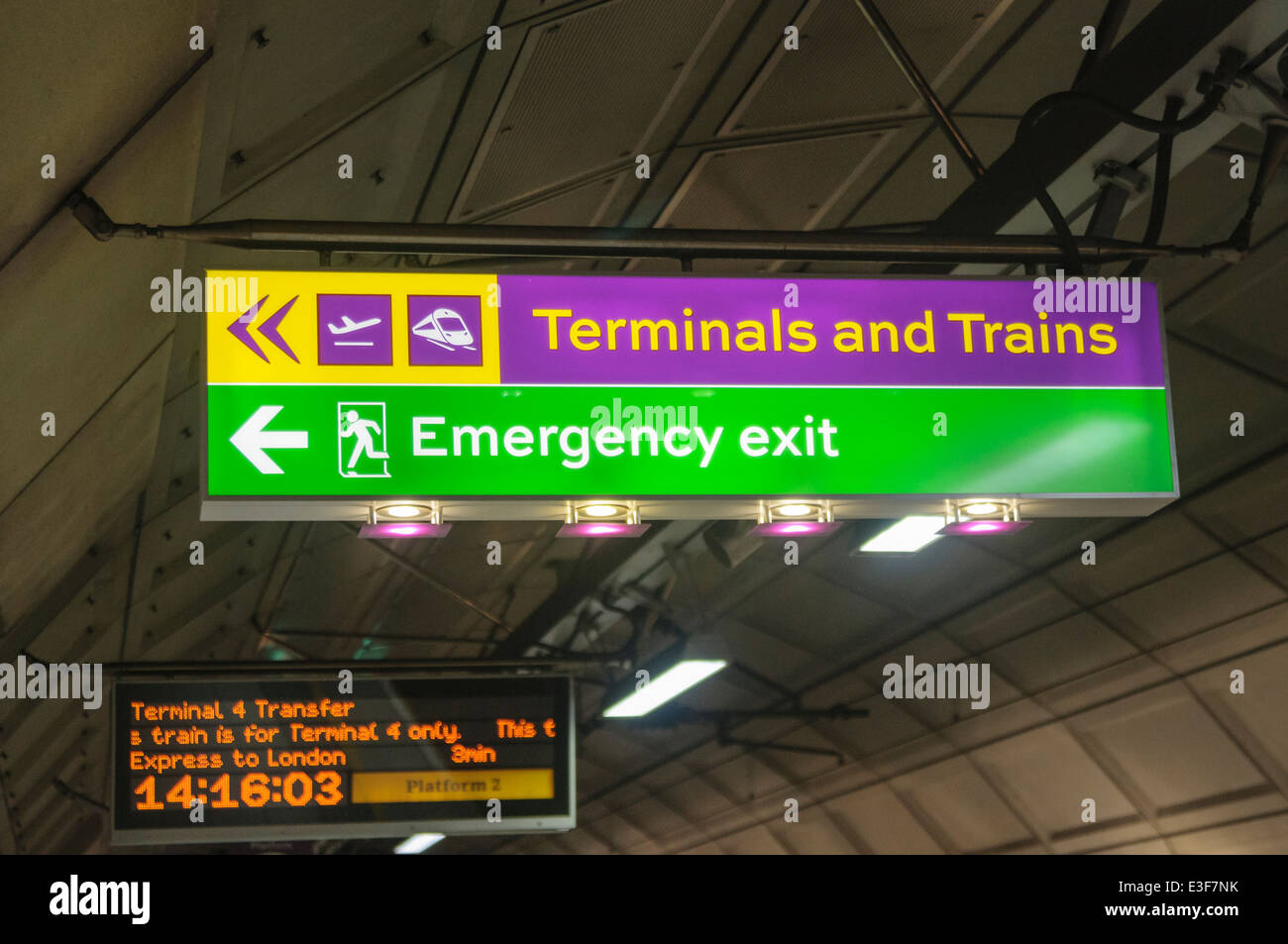 Sign to terminals and trains at Heathrow Express, Heathrow Airport - Stock Image