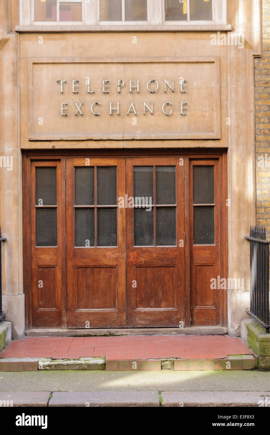 Door into an old British Telecommunications BT 'formerly Post Office' Telephone Exchange - Stock Image