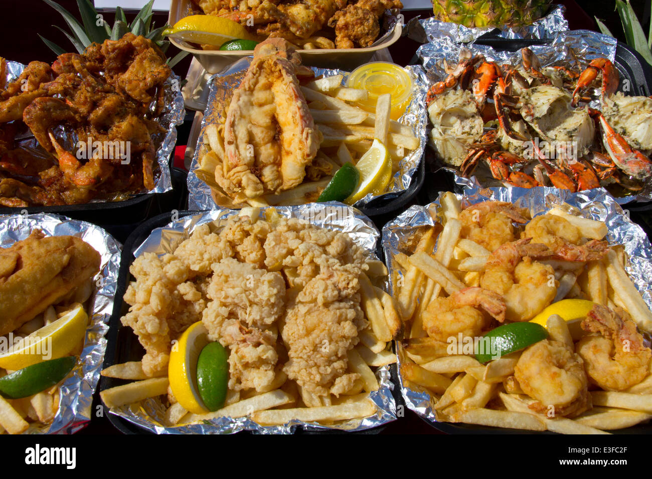 Shrimp, lobster, crab and plenty of other choices are available at the St. Augustine Lions Seafood Festival, St. - Stock Image