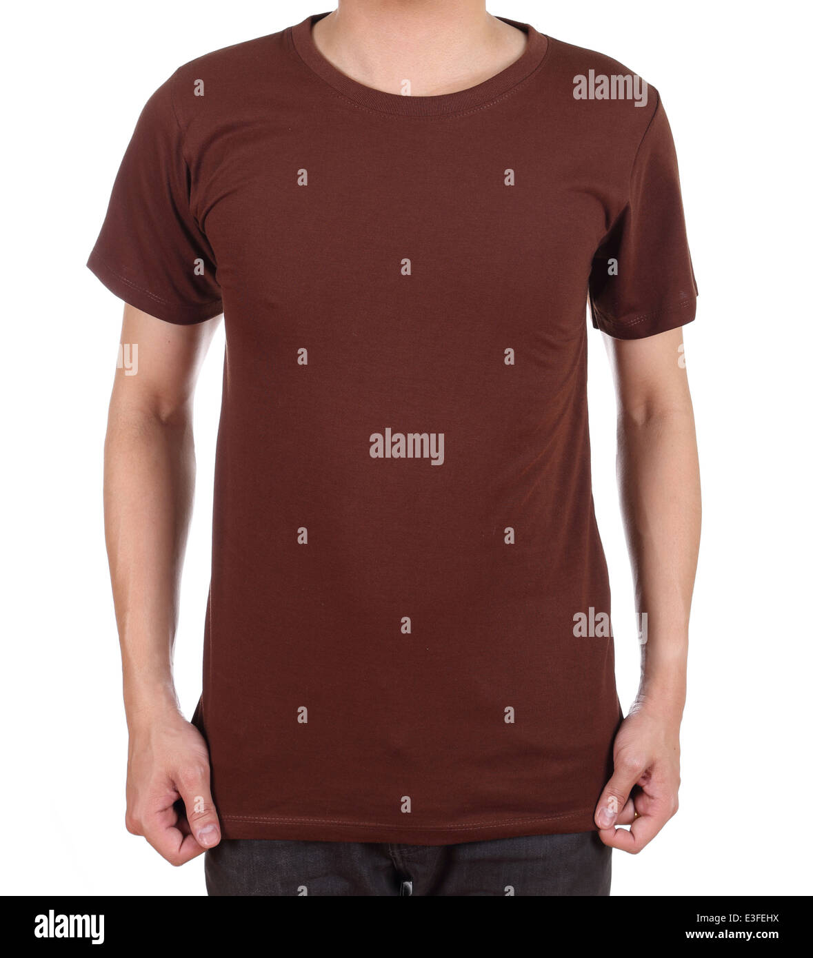 c1223035 blank brown t-shirt on man (front side) isolated on white background ...