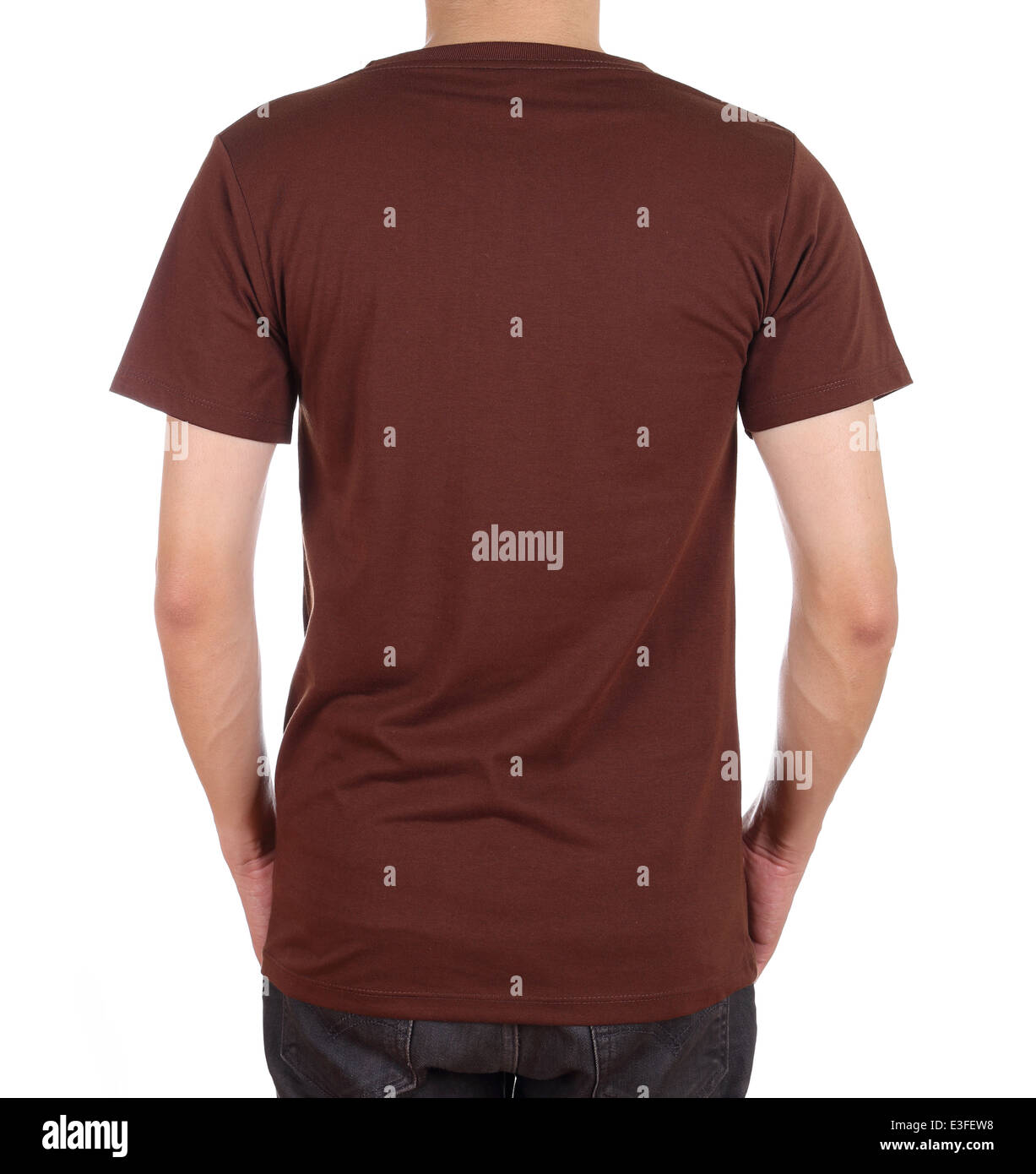 7eb9e02a blank brown t-shirt on man (back side) isolated on white background ...
