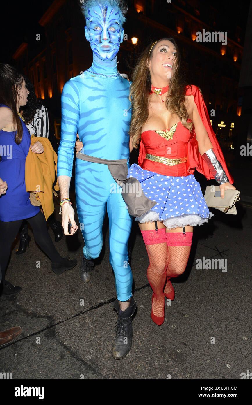 Luisa Zissman arriving in fancy dress as Wonder Woman for a ...