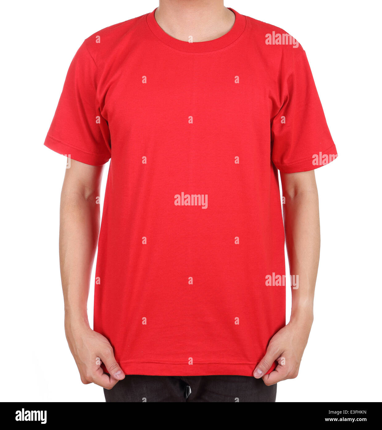 ad0e90da blank red t-shirt on man (front side) isolated on white background ...