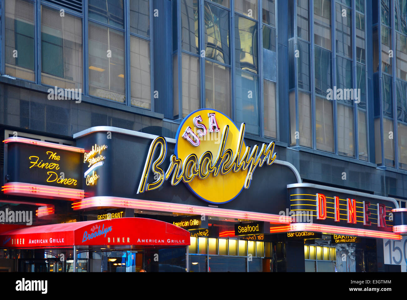 Brooklyn Diner USA American Grille, Times Square, New York - Stock Image