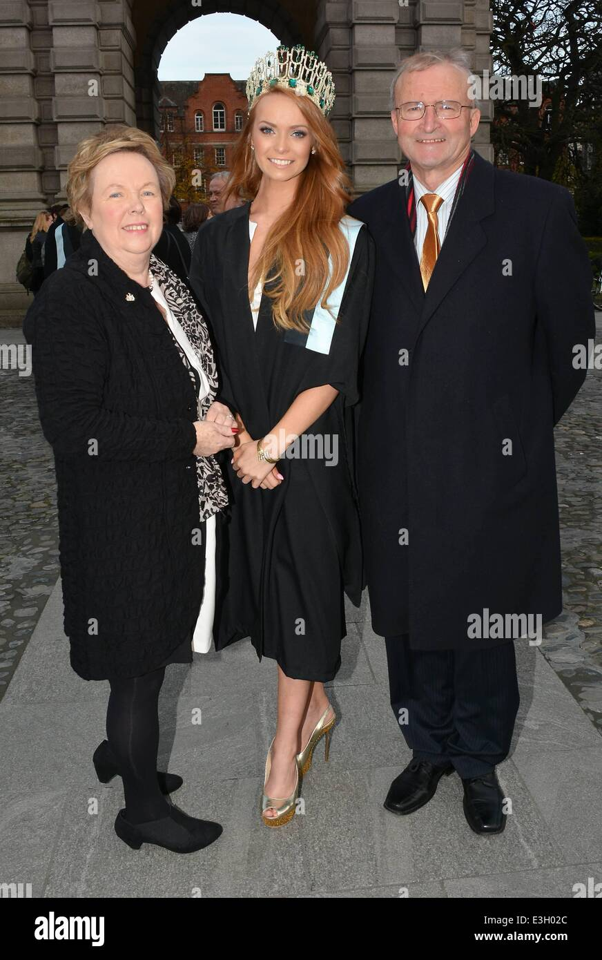 Miss Ireland 2013 Aoife Walsh graduates from Trinity College with a Post Grad in Education...  Featuring: Aoife Stock Photo