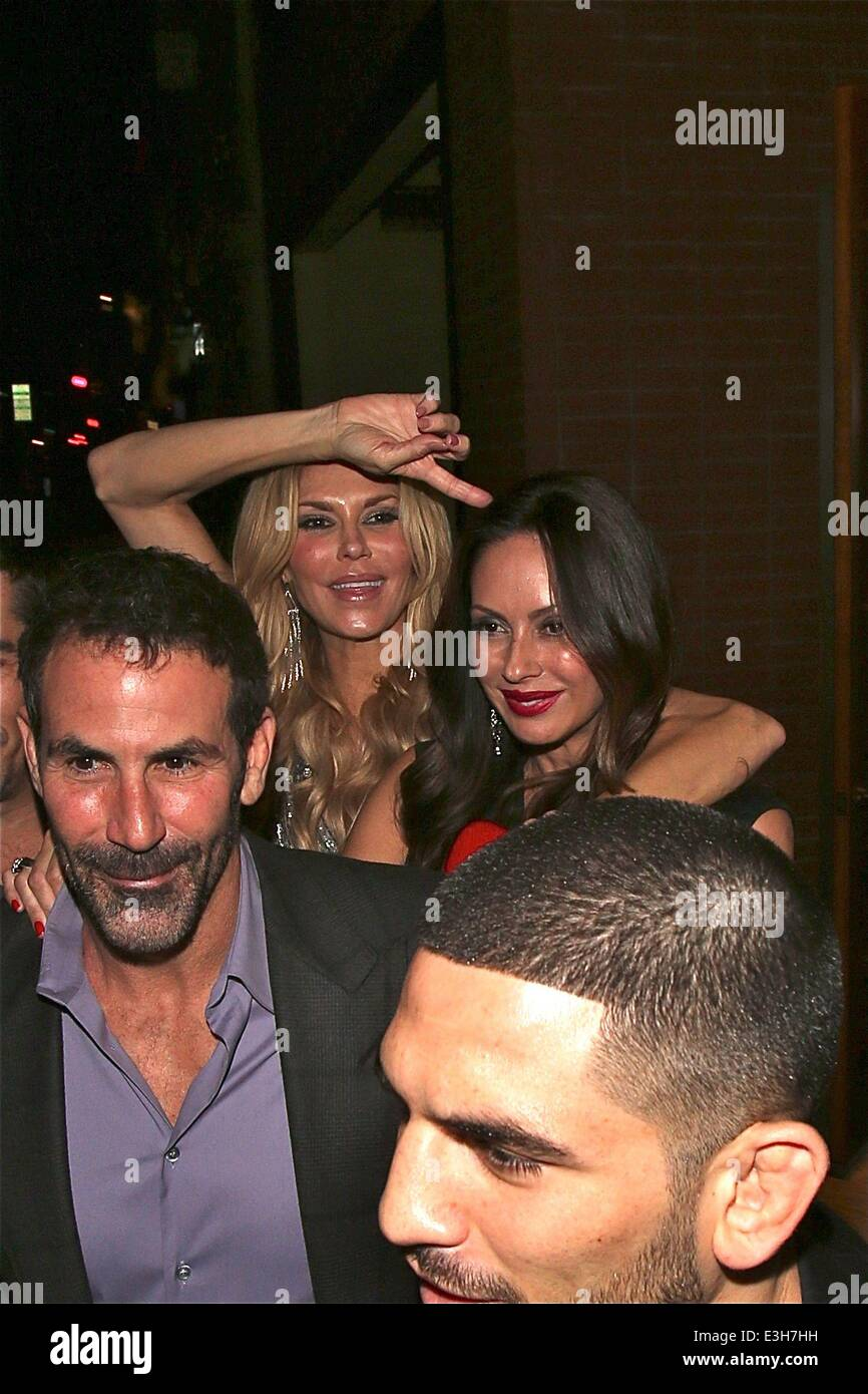 Brandi Glanville celebrates her birthday at Flemings restaurant. The former fashion model is carried out by a friend - Stock Image
