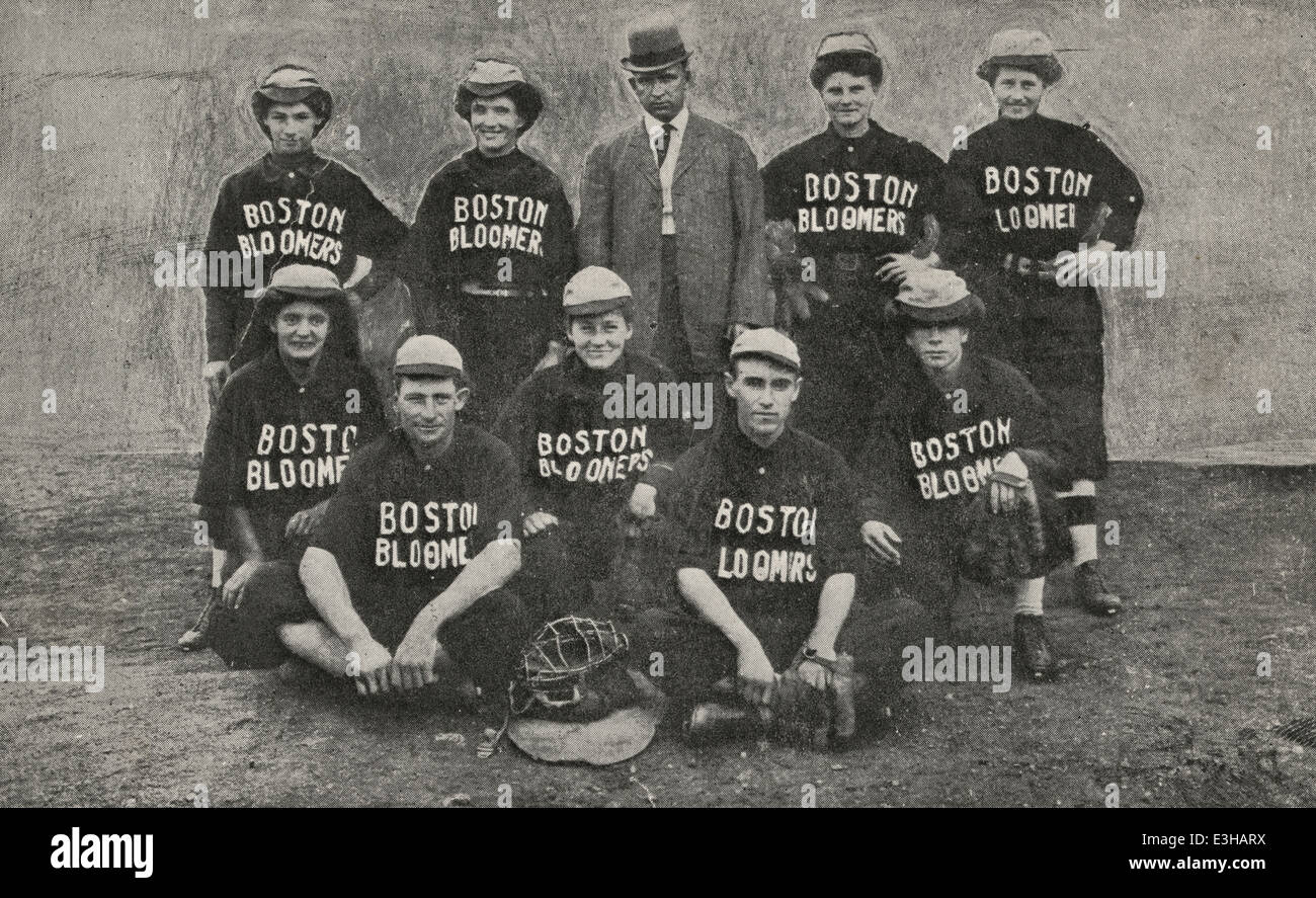 Boston national bloomer girl's base ball club, L.J. Galbreath, originator and owner - Post card showing nine - Stock Image