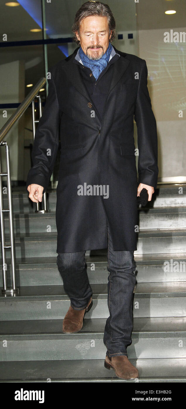 Celebrities leaving the DEC Philippines Typhoon Appeal telethon, held at BT Tower  Featuring: Nigel Havers Where: - Stock Image