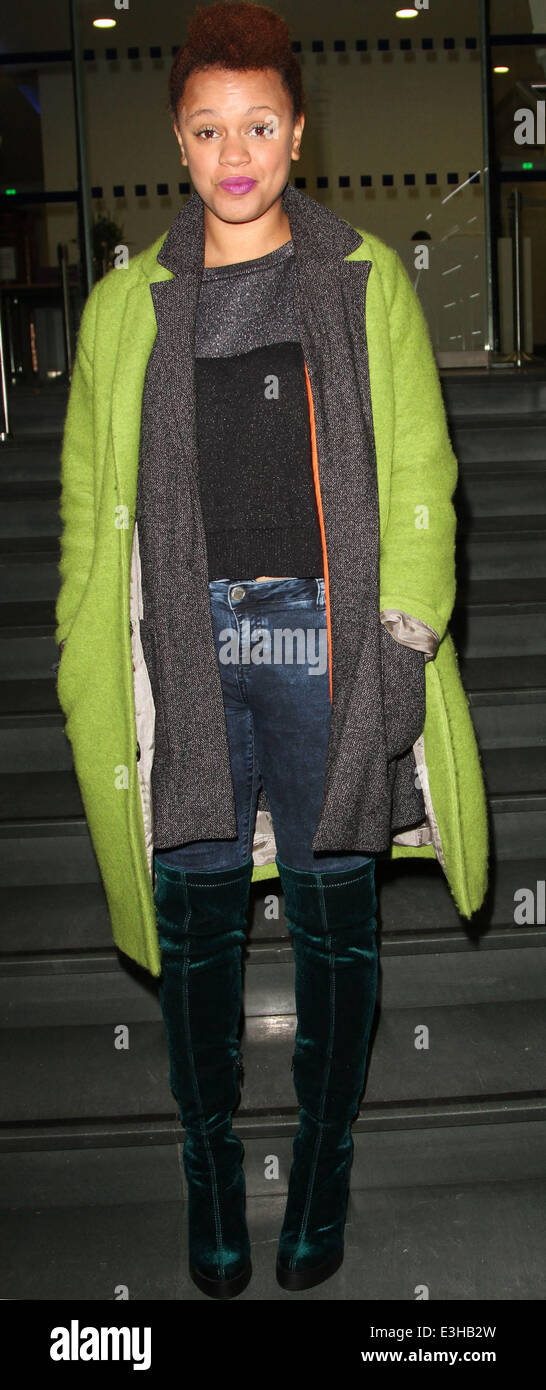 Celebrities leaving the DEC Philippines Typhoon Appeal telethon, held at BT Tower  Featuring: Gemma Cairney Where: - Stock Image