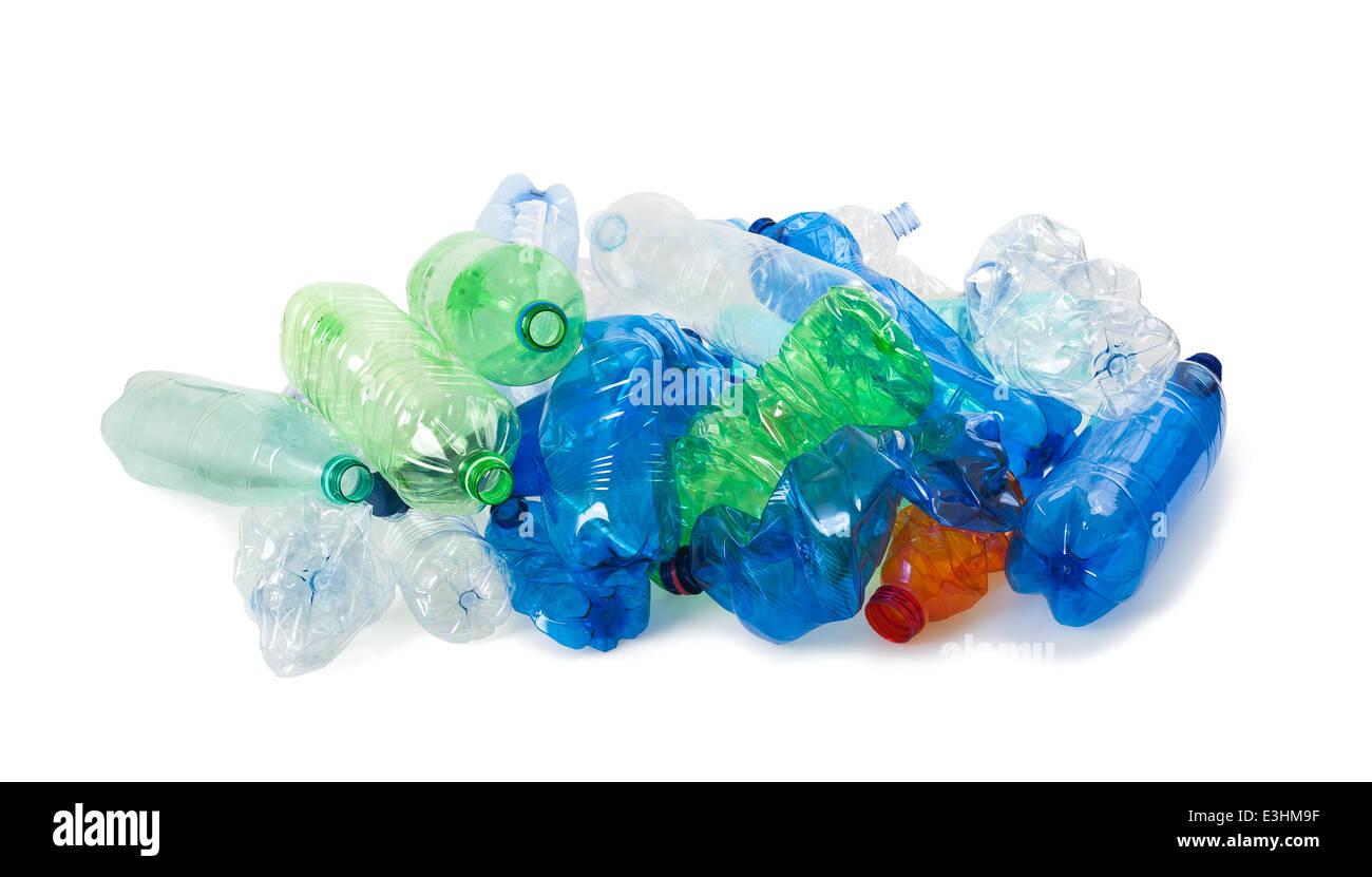 crushed plastic bottles on a white background Stock Photo