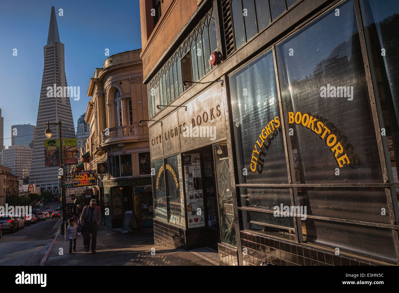 City Lights Bookstore, San Francisco, and in the background, the Transamerica Building. - Stock Image