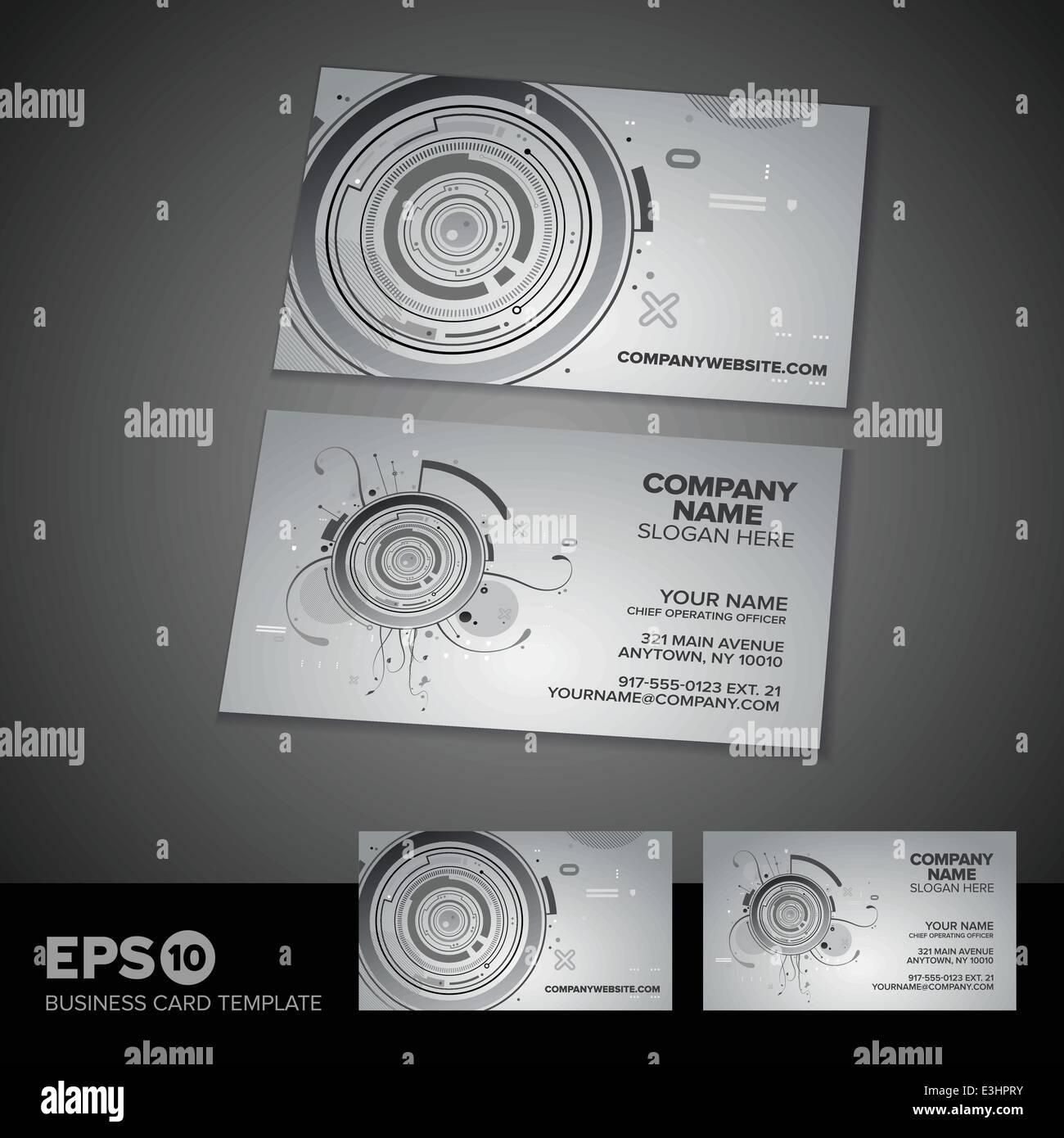 Modern Abstract Tech Business Card Template Design Stock Vector Art - Hp business card template