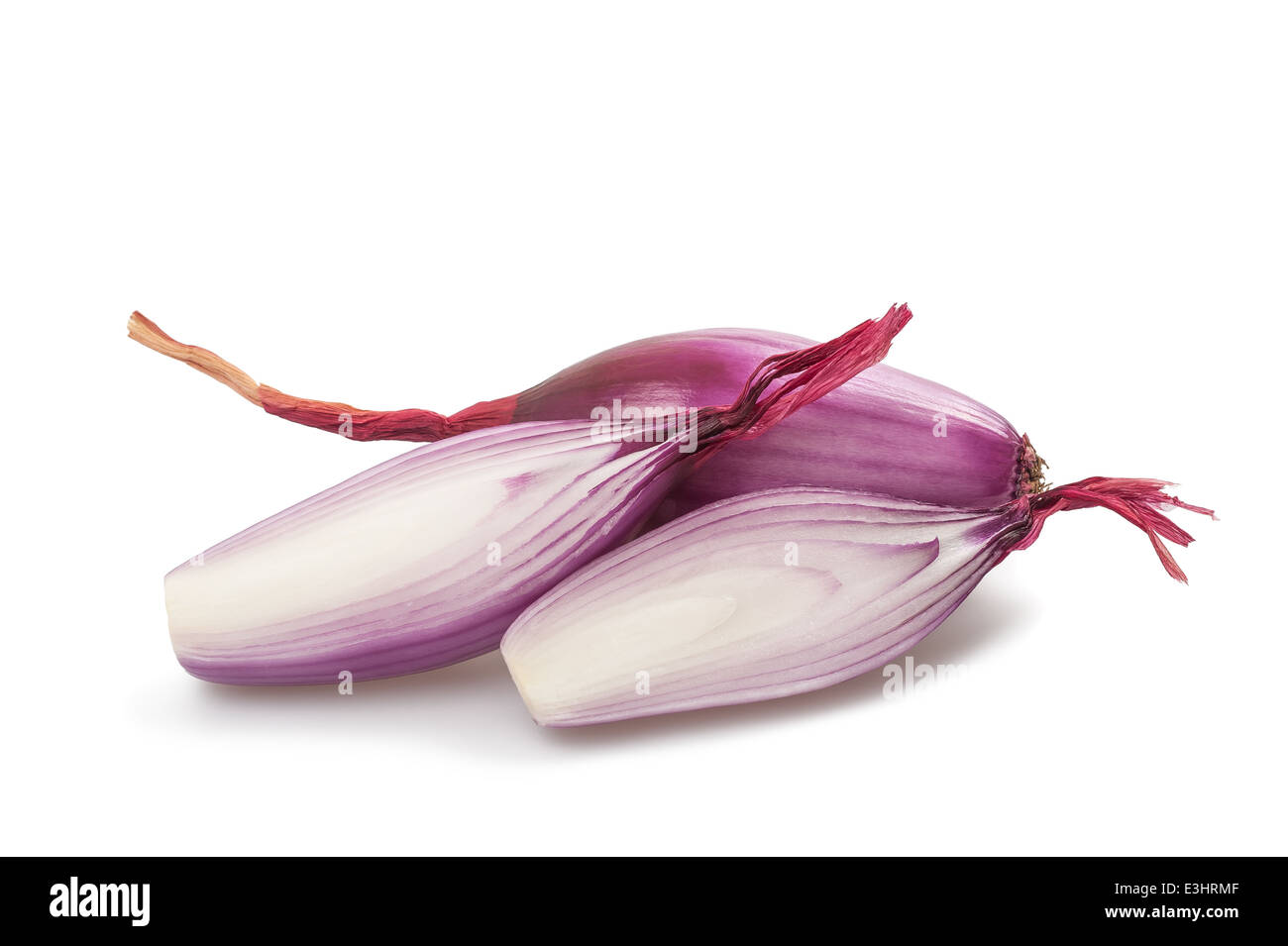 Red onions sliced isolated on white - Stock Image