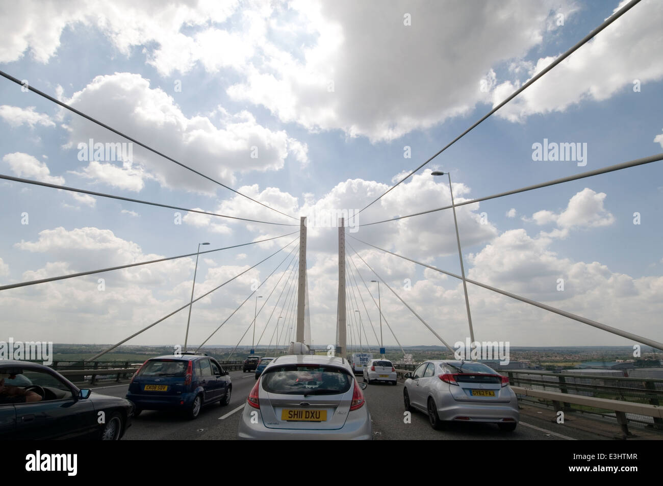qe2 bridge queen Elizabeth the 2nd second road m25 dartford crossing traffic jam jams on the toll booth ques que - Stock Image