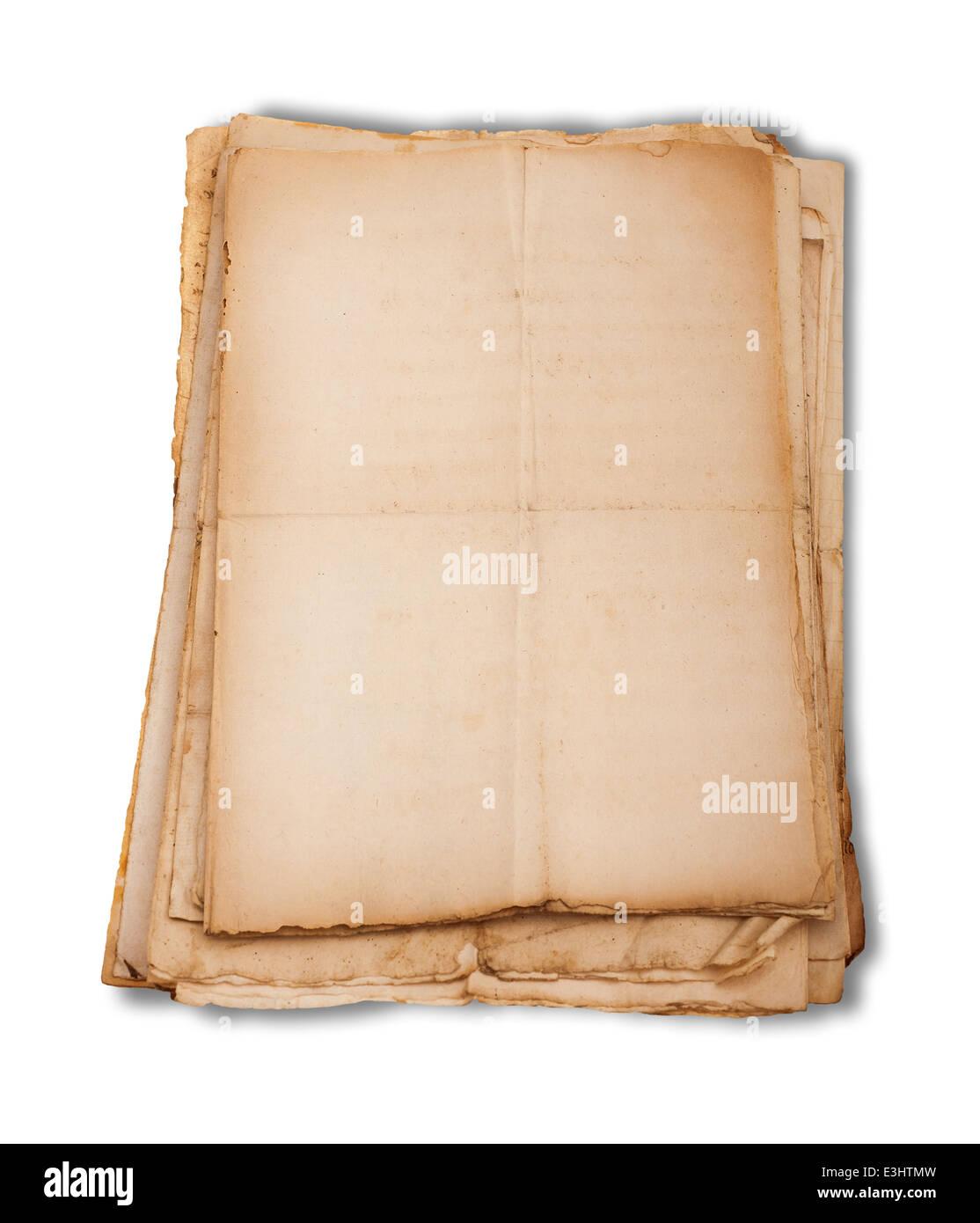 Sheets pile empty isolated on white background - Stock Image