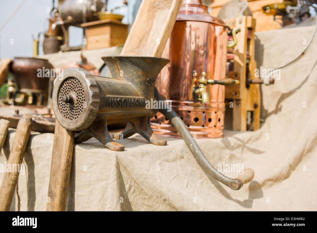 Antique meat grinder Husqvarna on sale - Stock Image