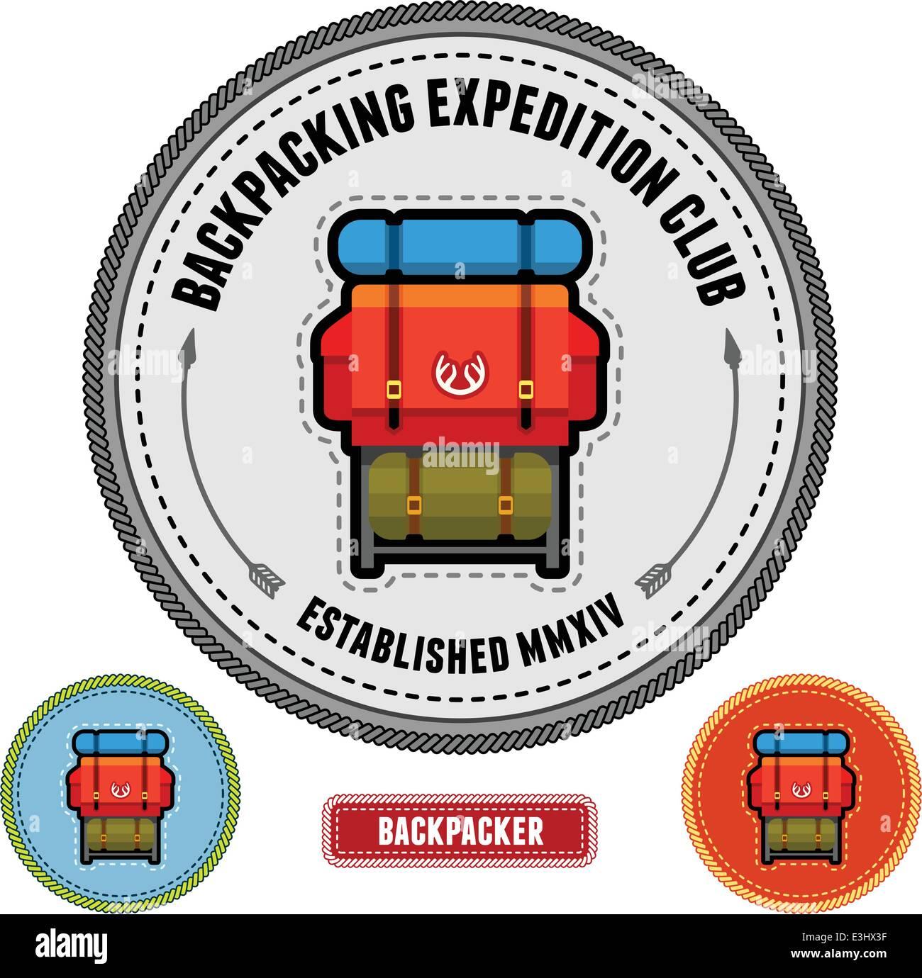 Backpack illustration on a badge emblem patch design - Stock Image