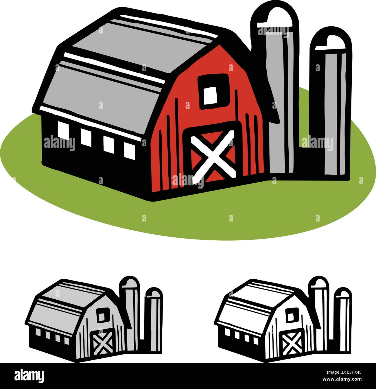 farm barn and silo cartoon illustration design vector stock vector