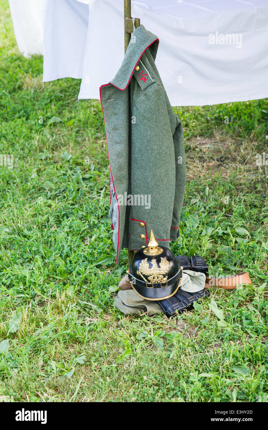 German army uniform of the First World War period waits for its owner in a military camp Stock Photo