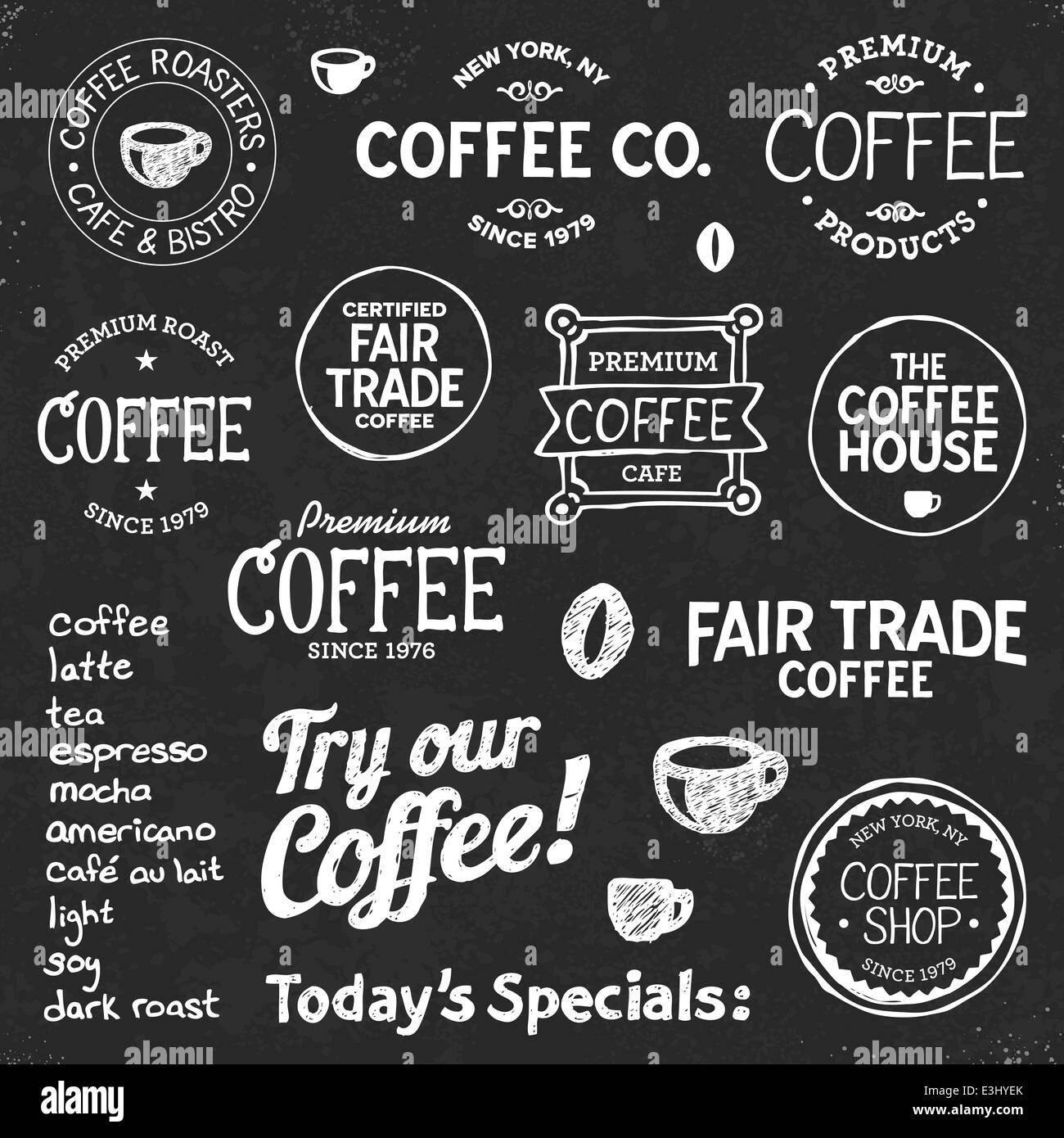 Set Of Coffee Shop Sketches And Text Symbols On A Chalkboard Stock