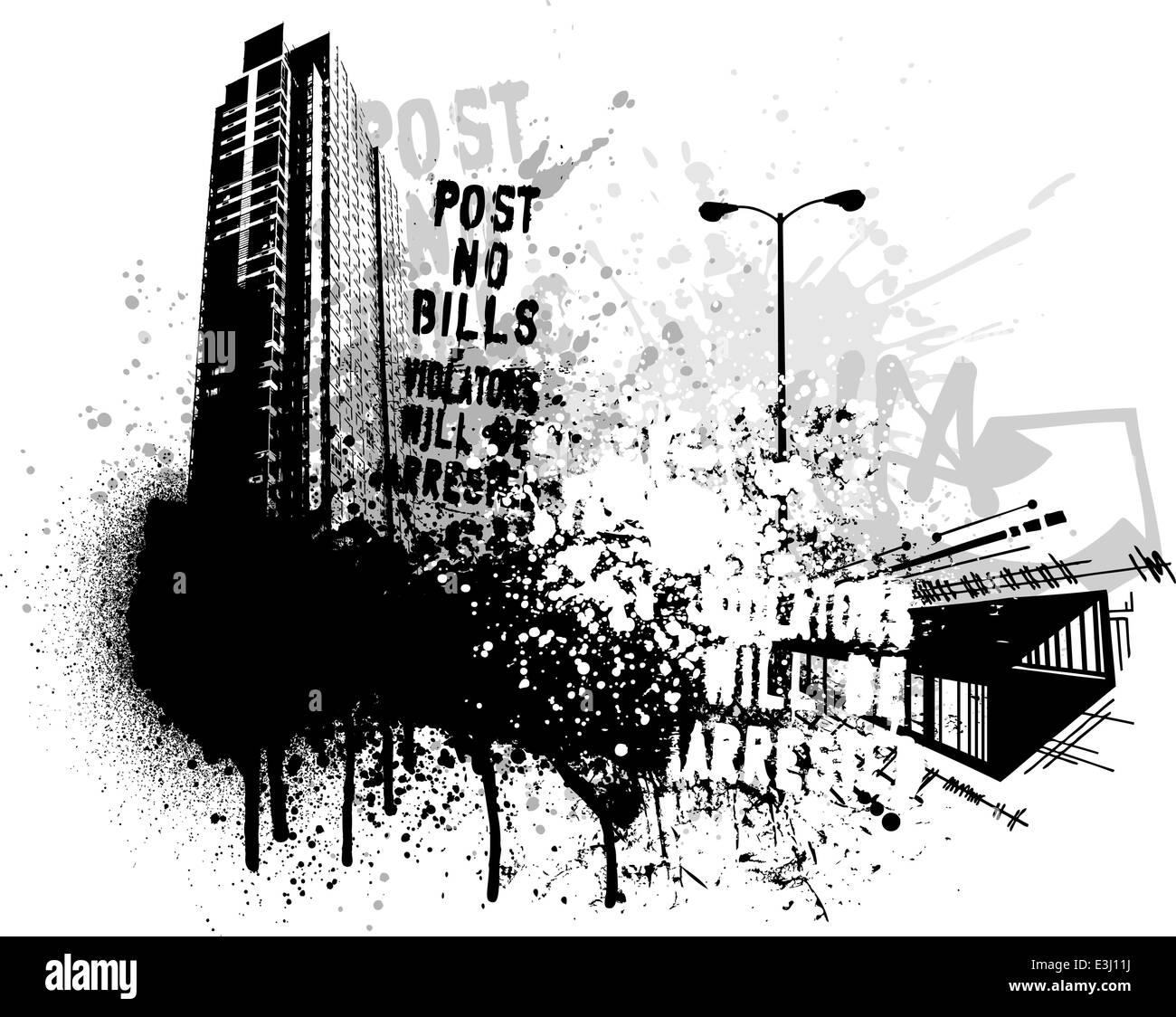 Black graffiti and paint splatter grunge city image Stock Vector