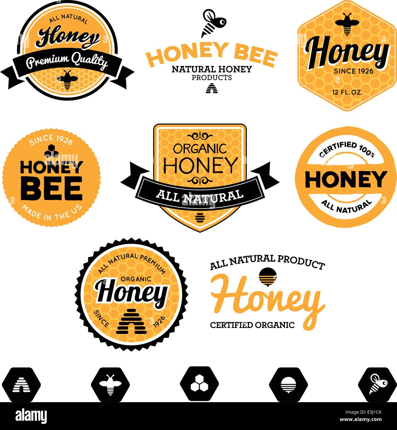 Set of honey and bee labels for honey products - Stock Vector