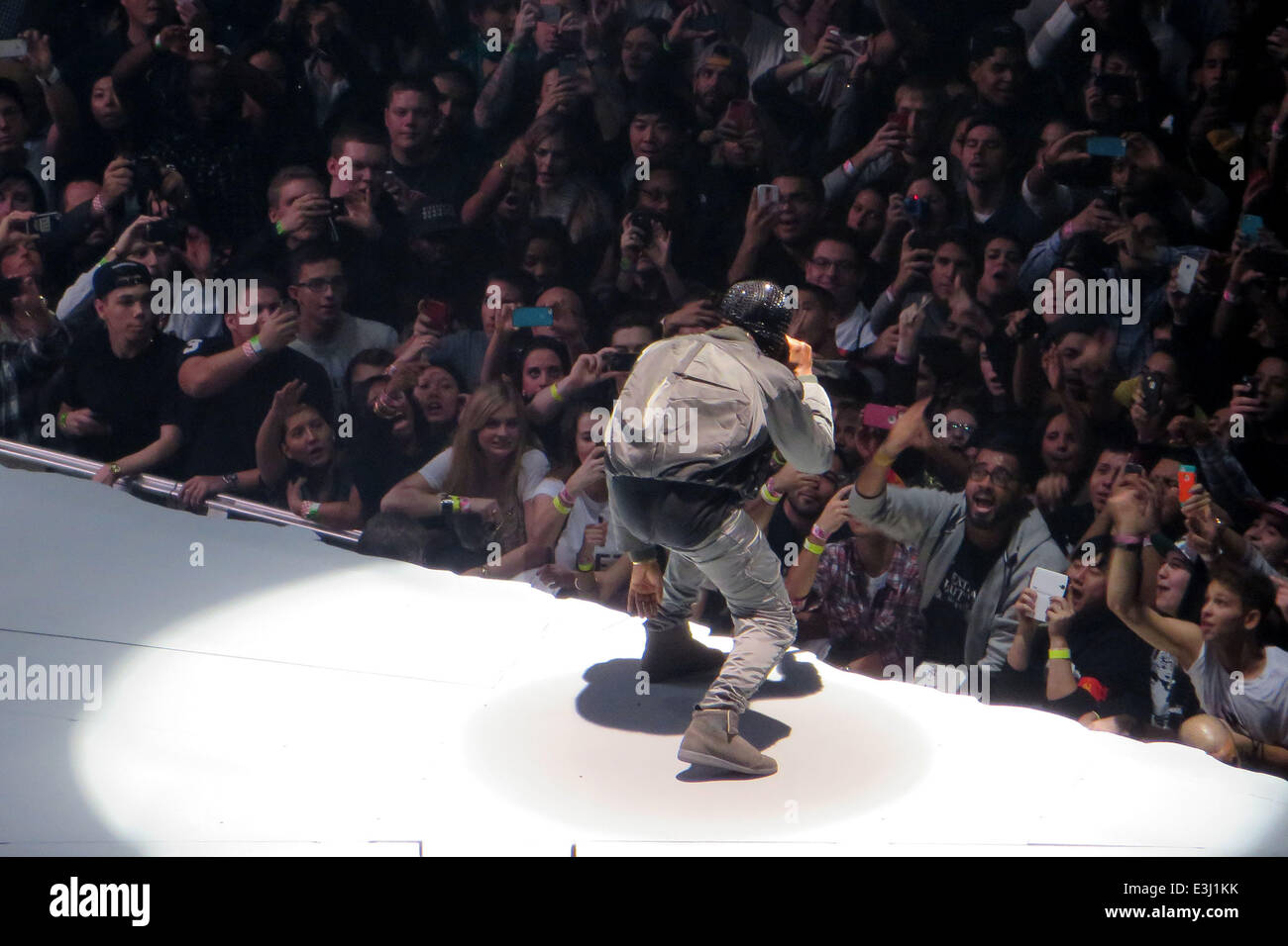 Amazing Kanye West Performs To A Sold Out Crowd At Madison Square Garden As Part Of  His U0027Yeezusu0027 Tour. The Eccentric Rapper Performed The Entire Concert  Wearing A ...