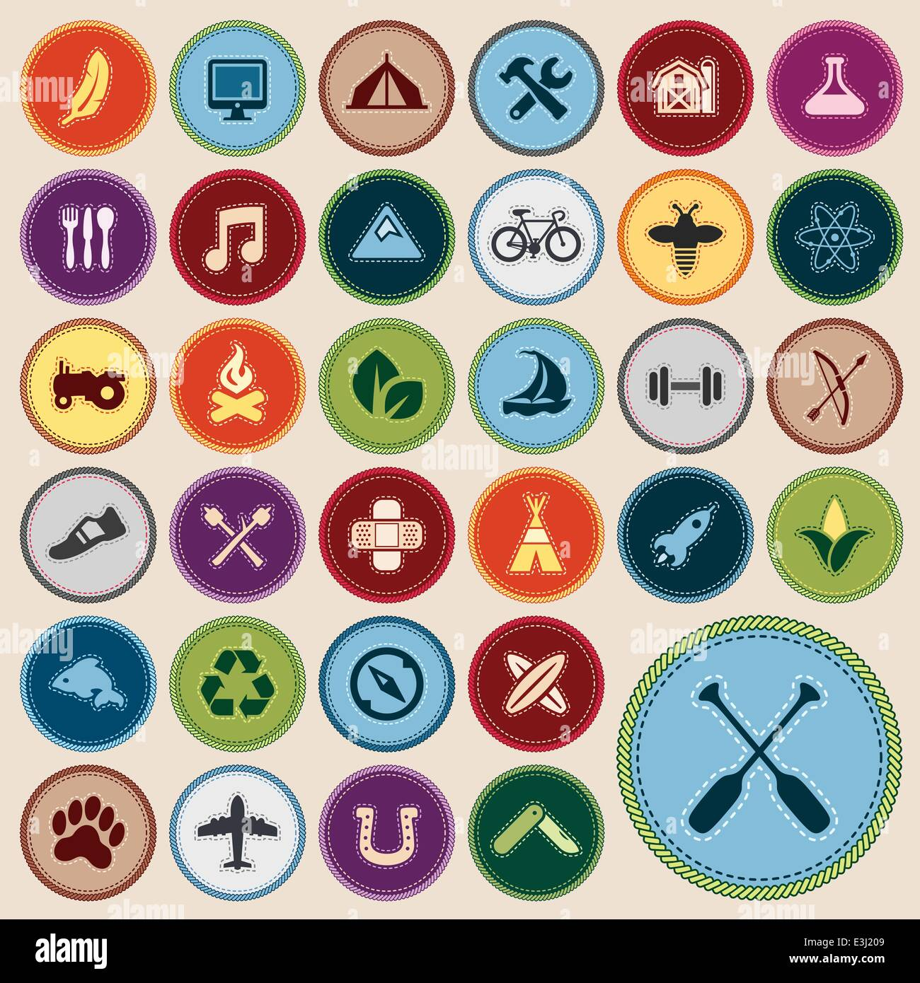 Set of scout merit badges for outdoor and academic activities - Stock Vector