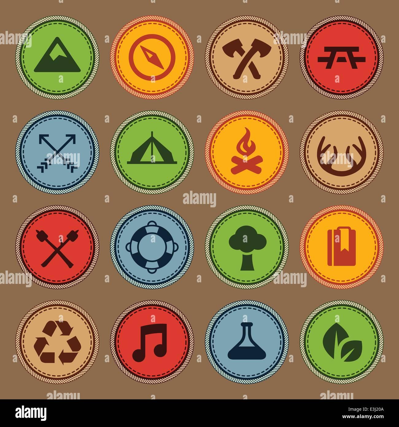 Set of merit achievement badges for outdoor activities - Stock Image