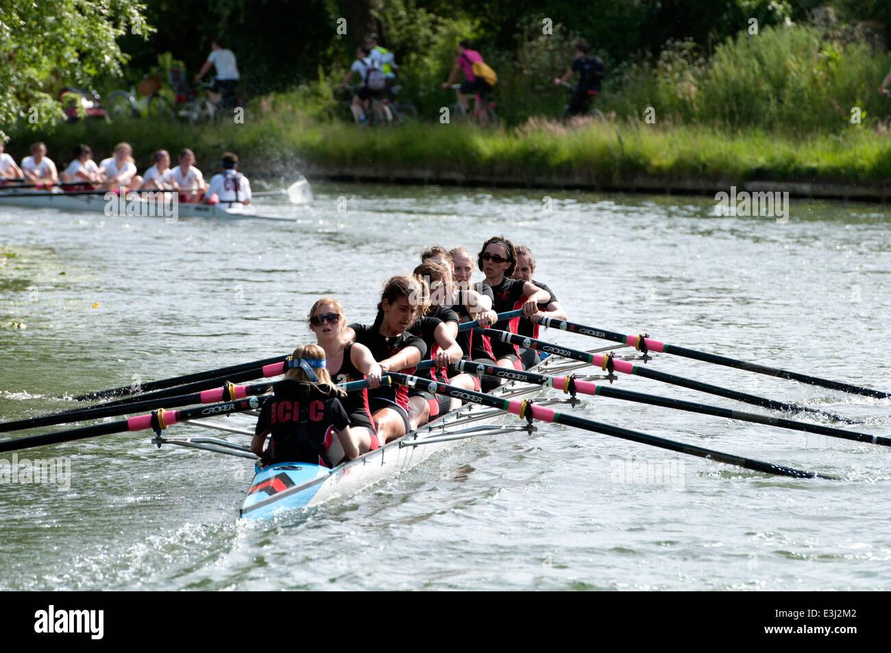 Cambridge May Bumps, Jesus College ladies eight - Stock Image