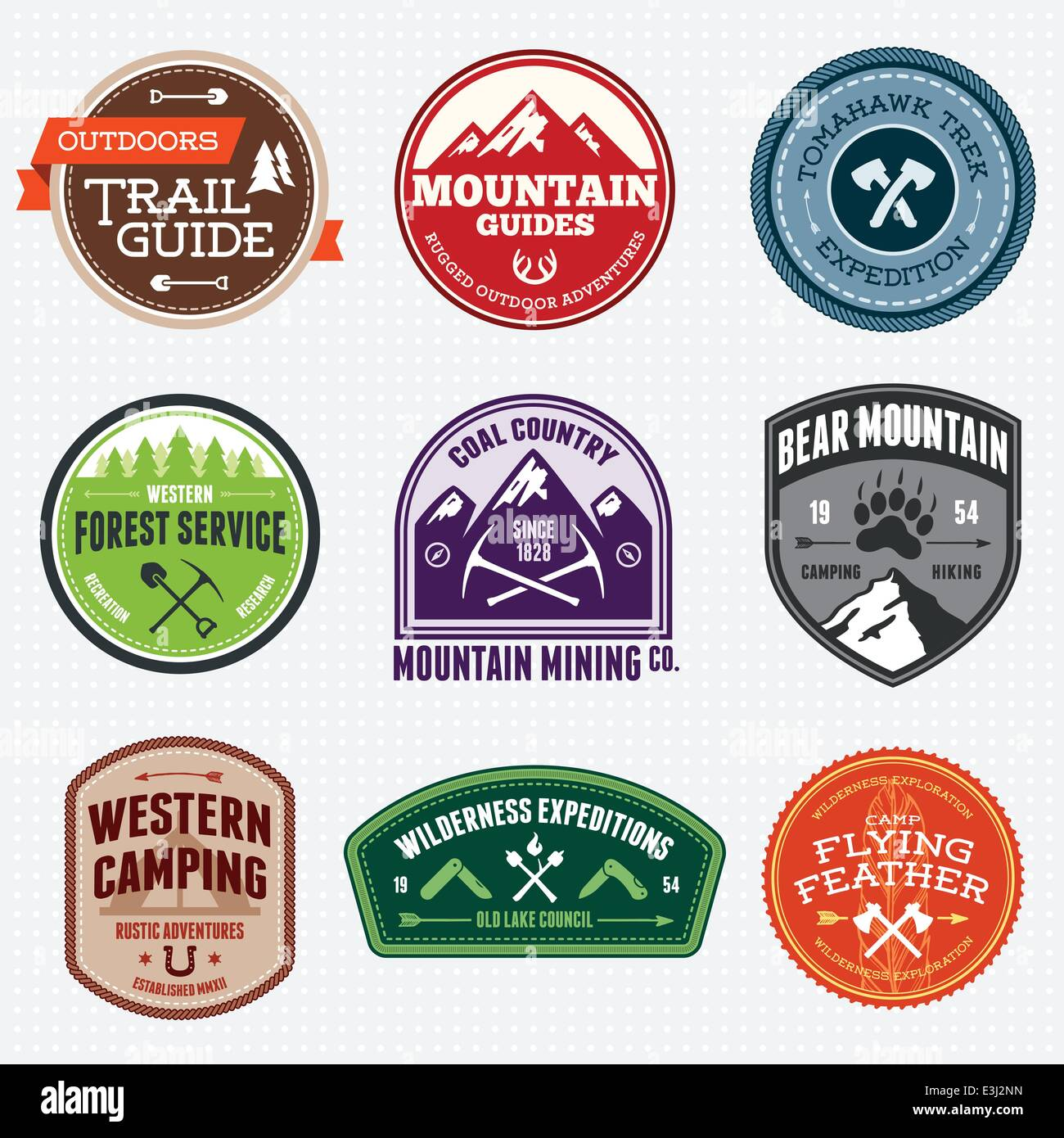 Set of outdoor adventure and expedition badges - Stock Image
