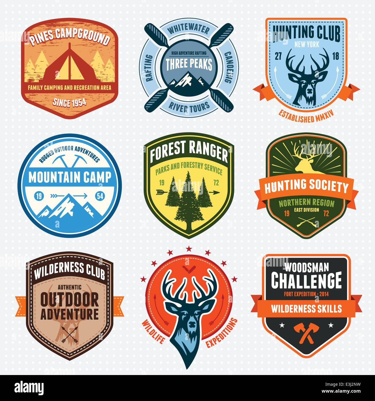 Set of outdoor adventure badges and hunting emblems - Stock Image