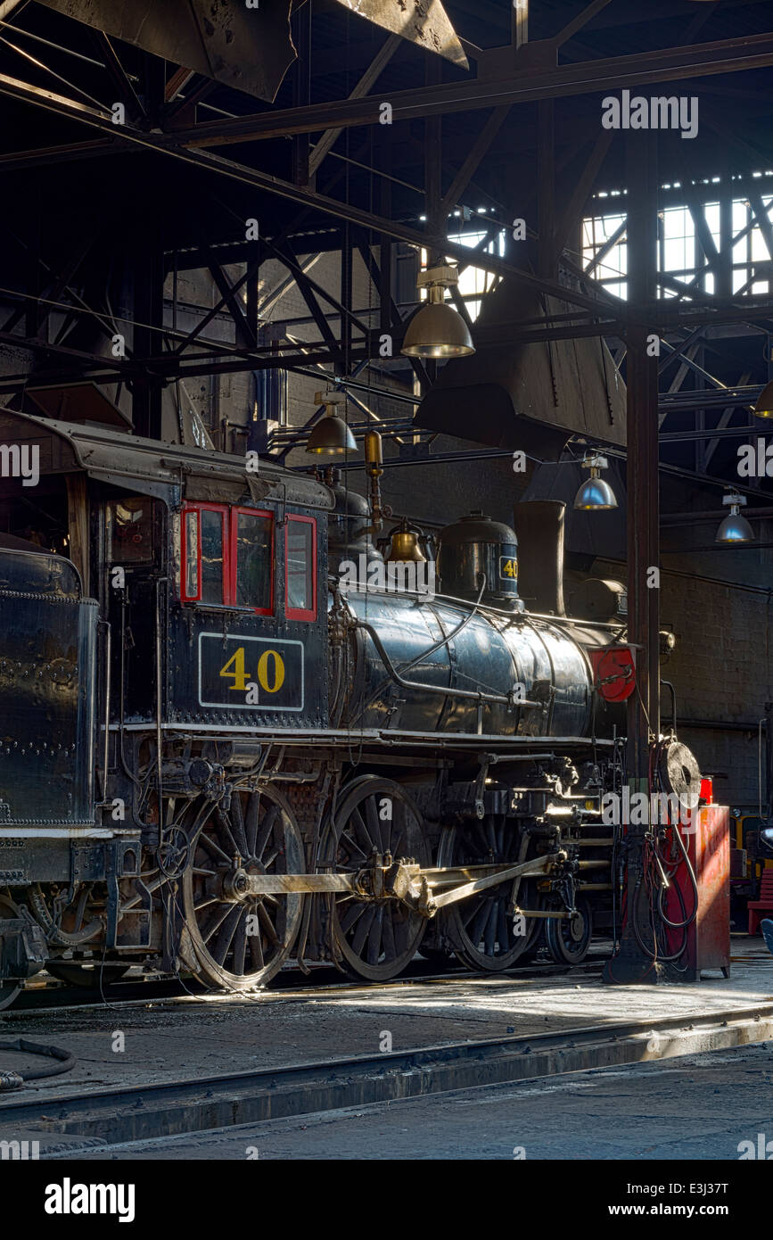 1910 Baldwin steam locomotive in the engine house of the historic Nevada Northern Railway in Ely, Nevada. - Stock Image