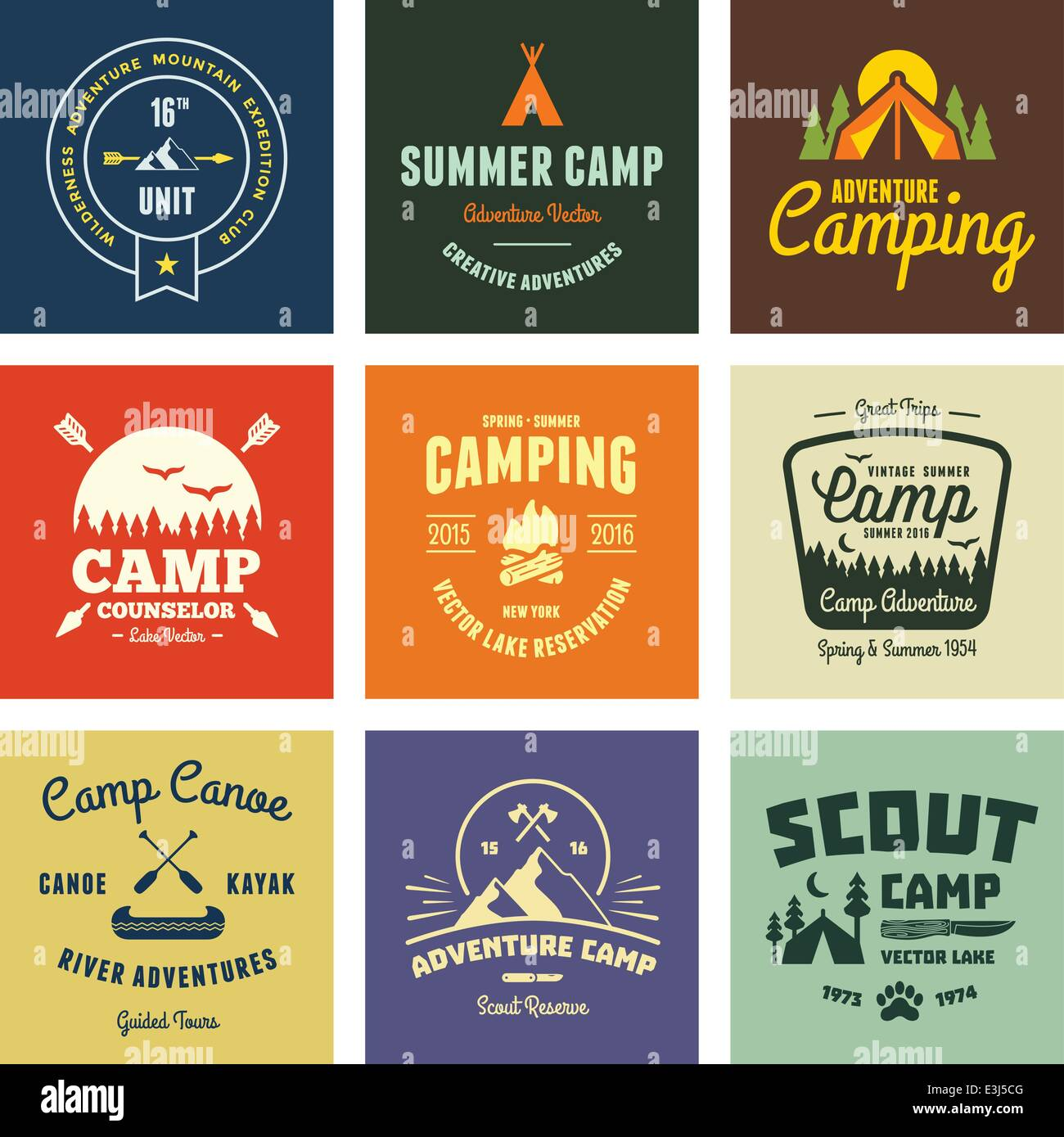 Set of retro vintage camp labels and graphics - Stock Vector
