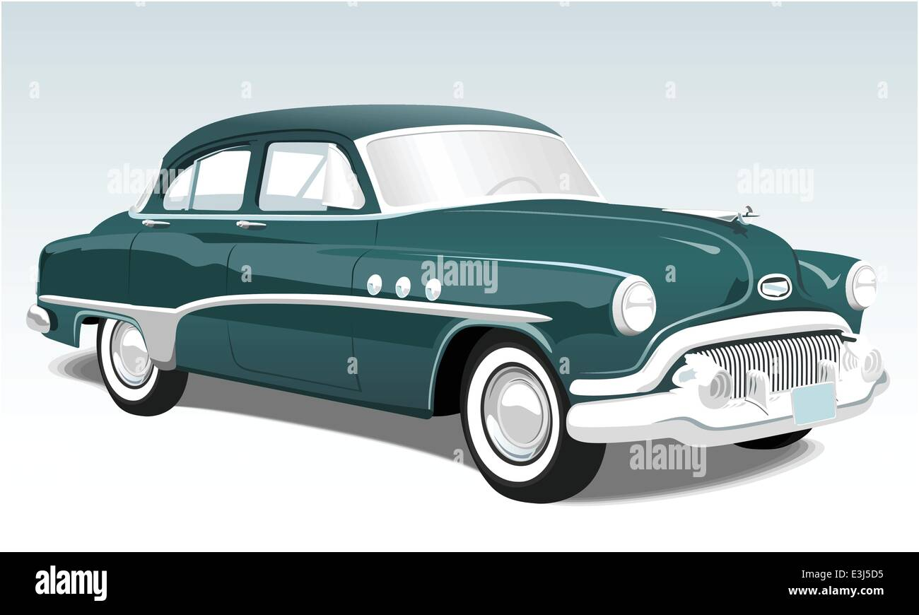 Vintage classic car illustration - Stock Vector